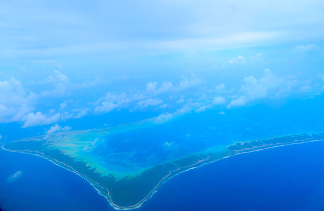 Aerial view of atoll in Tuamotu French Polynesia