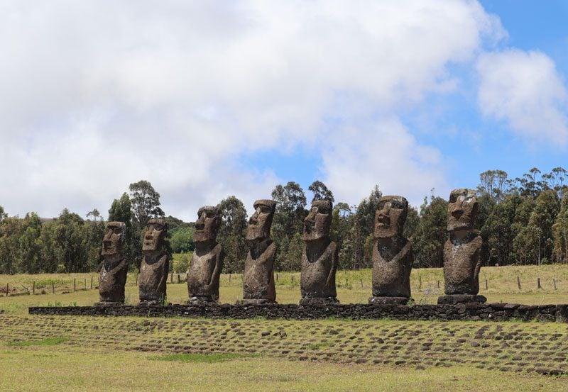 Ahu Akivi seven moai statues - Easter Island