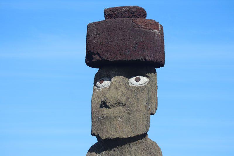 Ahu Ko Te Riku - fully restored moai - Ahu Tahai - Easter Island - face closeup