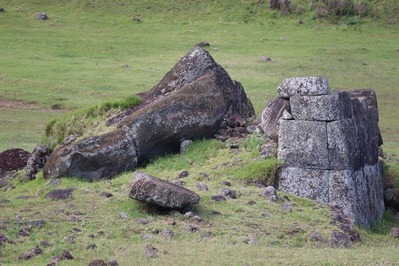 Ahu Vinapu - toppled moai statues - Easter Island