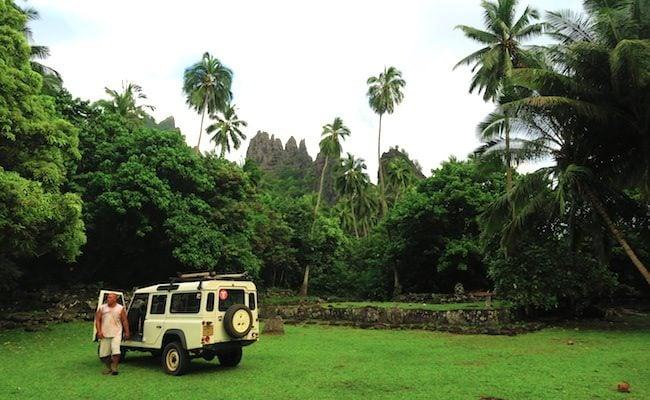 Archeological site parking jeep Nuku Hiva Marquesas Islands French Polynesia