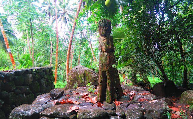 Archeological site tall tiki Nuku Hiva Marquesas Islands French Polynesia