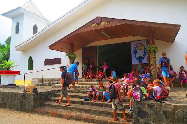Atuona village children Hiva Oa Marquesas Islands French Polynesia