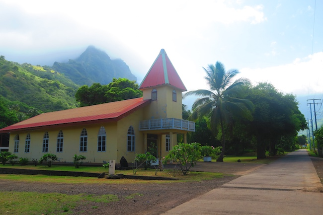 Atuona village church Hiva Oa Marquesas Islands French Polynesia