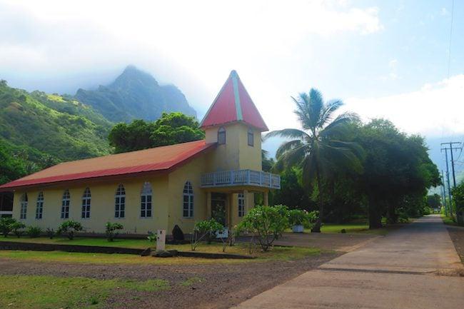 Atuona village church Hiva Oa Marquesas Islands French Polynesia