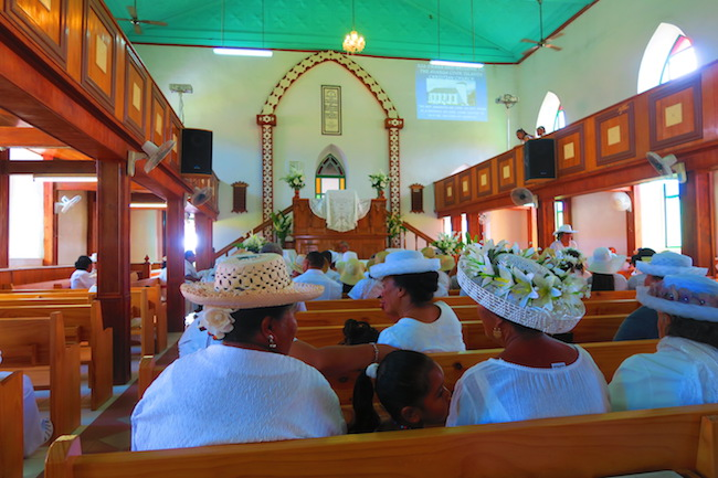 Avarua Catholic Church CICC Rarotonga - women sunday hats