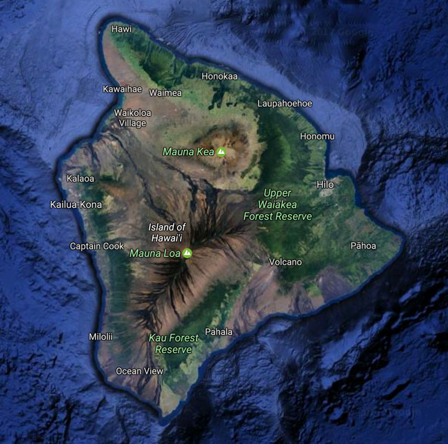 Big Island Hawaii Satelite View
