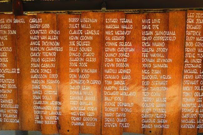Bloody Mary's Bora Bora celebrity names
