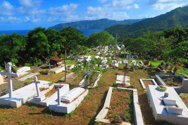 Calvaire Cemetery Hiva Oa Marquesas Islands French Polynesia view