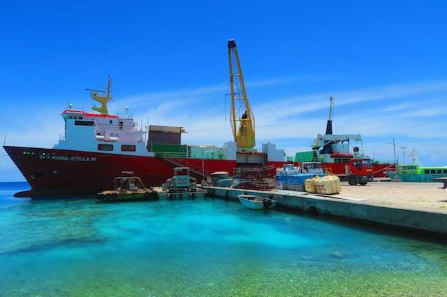 Cargo supply boat in Rangiroa French Polynesia