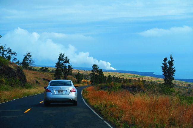 Drive to Hawaii Volcanoes National Park Big Island