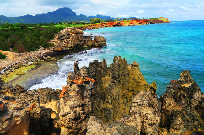 Eroded sharp limestone sea cliffs - Maha'ulepu Heritage Trail - Kauai, Hawaii