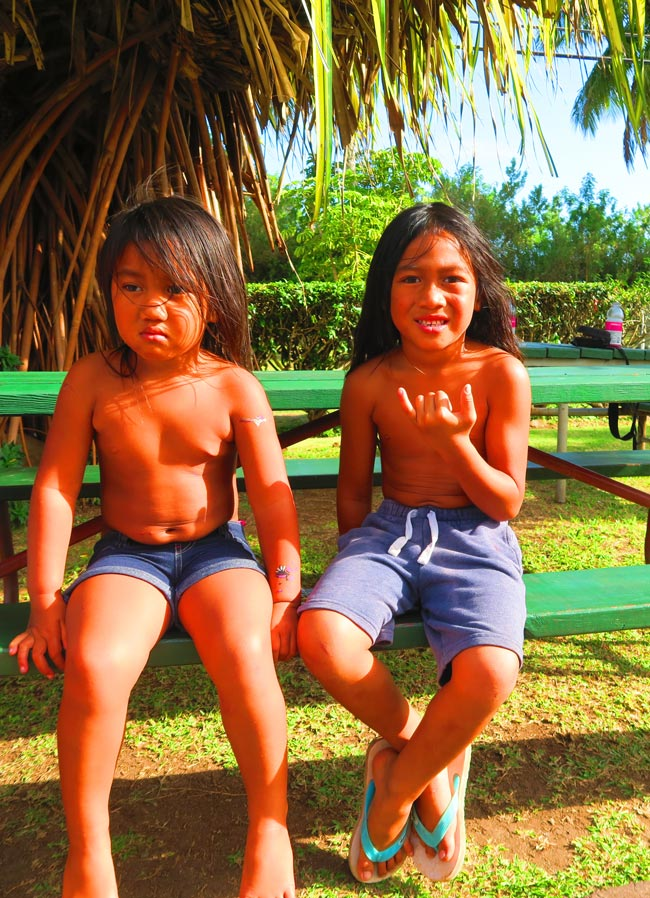 Exotic Native Hawaiian children in Molokai Hawaii