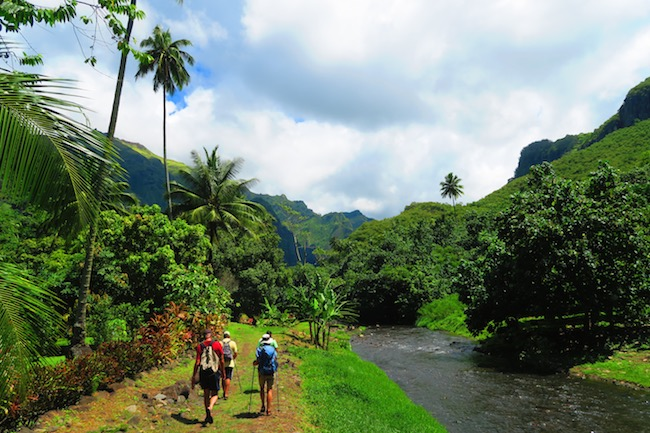 Hakaui Valley Vaipo Waterfall hike walking along river Nuku Hiva Marquesas Islands French Polynesia