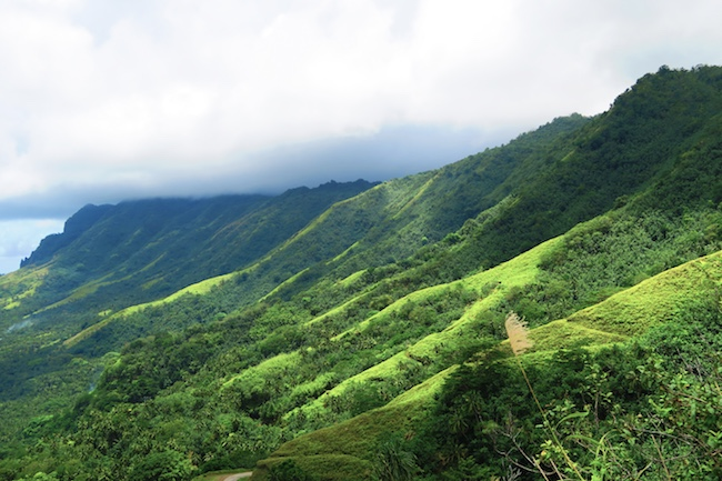 Hatiheu Bay mountains Nuku Hiva Marquesas Islands French Polynesia