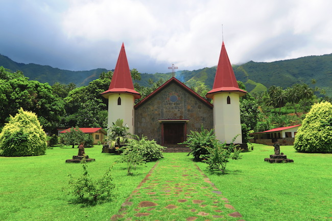Hatiheu Village church Nuku Hiva Marquesas Islands French Polynesia