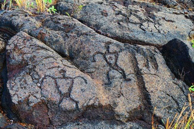 Hawaiian Petroglyphs - Hawaii Volcanoes National Park Big Island