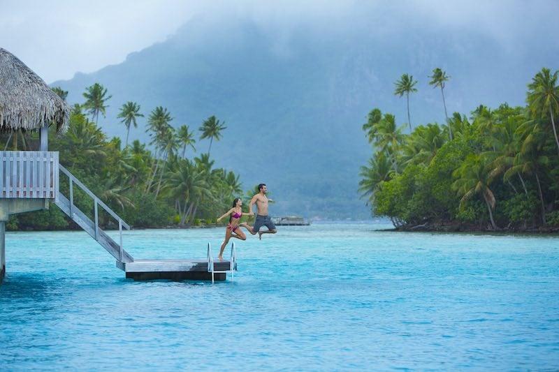 Honeymoon in Tahiti French Polynesia - bora bora jumping from bungalow