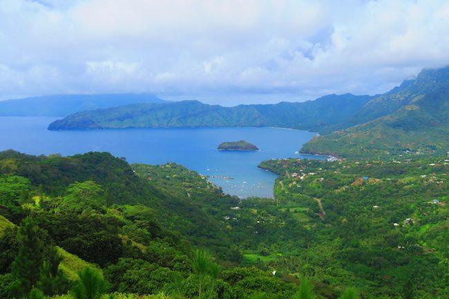 Horseback riding Hiva Oa Marquesas Islands French Polynesia panoramic view