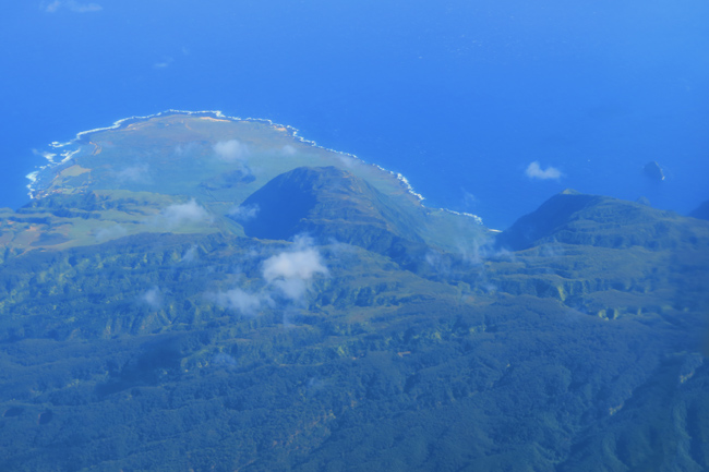 Kalaupapa Peninsula and Pali Coast from air - Molokai Hawaii