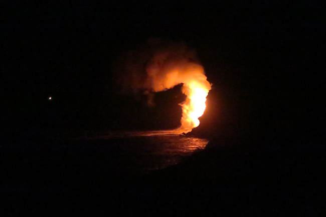 Kilauea lava spilling into Pacific Ocean - Hawaii Volcanoes National Park Big Island