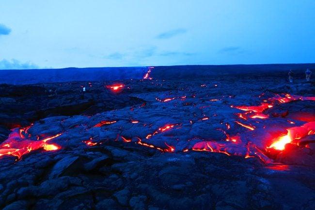 Kilauea lava viewing area at night - Hawaii Volcanoes National Park Big Island