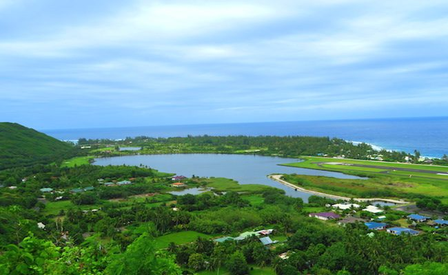 Lake Temae Moorea French Polynesia panoramic view