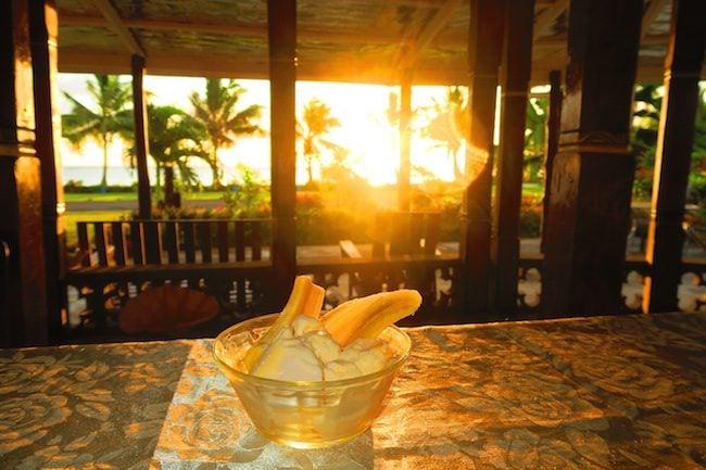 Le Valasi's Beach Fales Samoa - sunset dessert