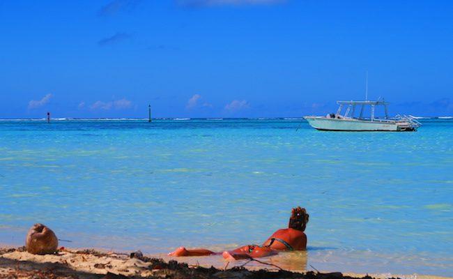 Les Tipaniers Beach Moorea French Polynesia bikini in water
