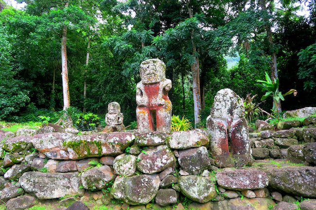 Lipona archeological site Hiva Oa Marquesas Islands French Polynesia huge tikis