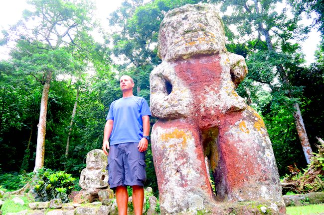Lipona archeological site Hiva Oa Marquesas Islands French Polynesia massive tiki