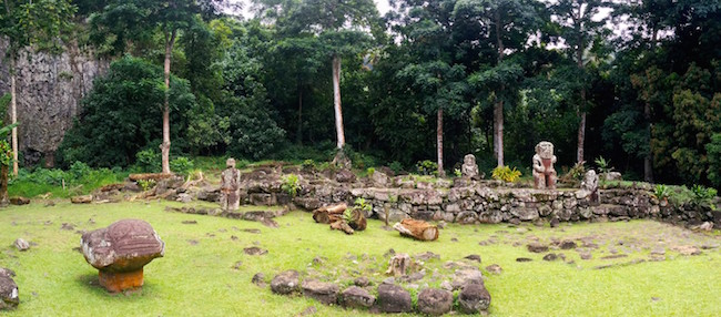 Lipona archeological site Hiva Oa Marquesas Islands French Polynesia panoramic