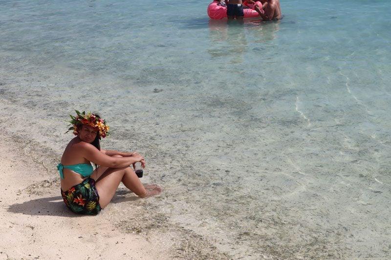 Local Polynesian in Matira Beach Bora Bora French Polynesia