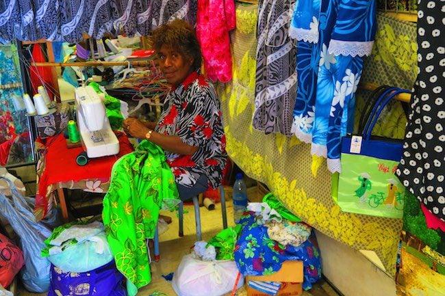 Local Woman Sewing In Hebrida Market Place - Port Vila Vanuatu
