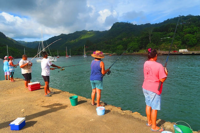 Locals fishing Hiva Oa Marquesas Islands French Polynesia