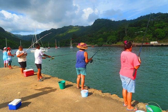Locals fishing Hiva Oa Marquesas Islands French Polynesia