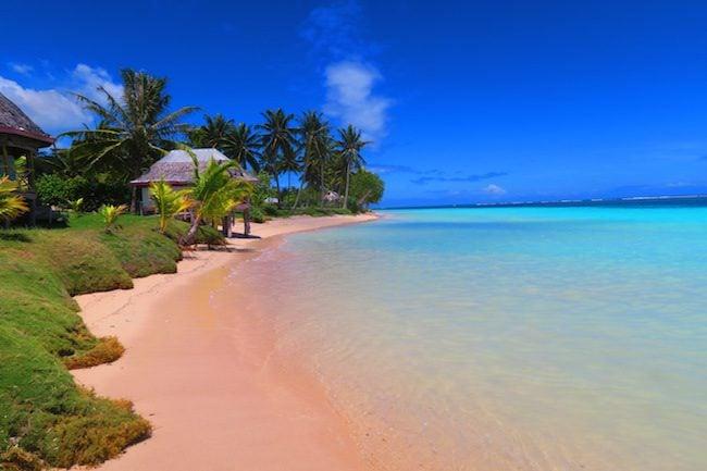 Manase tropical beach Savaii Island Samoa - pink sand