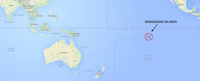 Marquesas Islands global position map