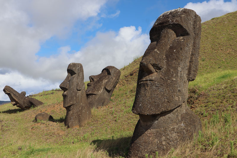 Moai statues in - Easter Island - Rano Raraku quarry