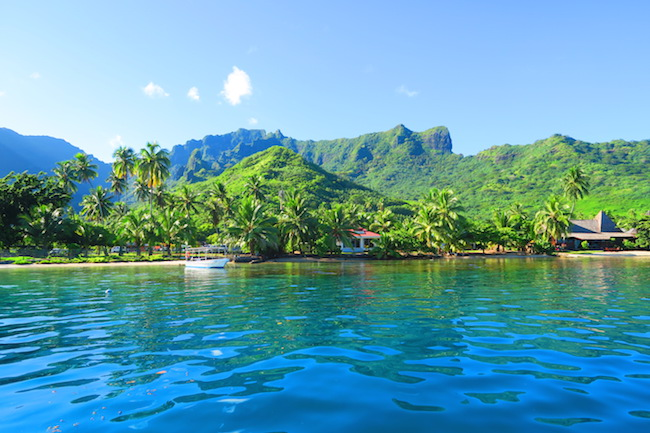 Moorea coastline panoramic view french polynesia