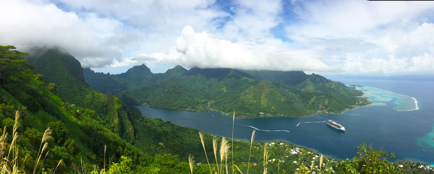 Mount Rotui Hike - Panoramic view of Opunohu Bay- Moorea - French Polynesia