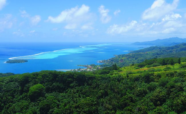 Mount Tapioi hike panoramic view of Raiatea Island French Polynesia