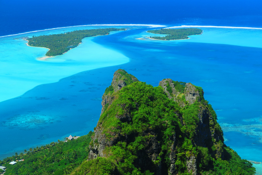 Mount Teurafaatiu Hike - Maupiti - French Polynesia - View of Lagoon Pass from summit