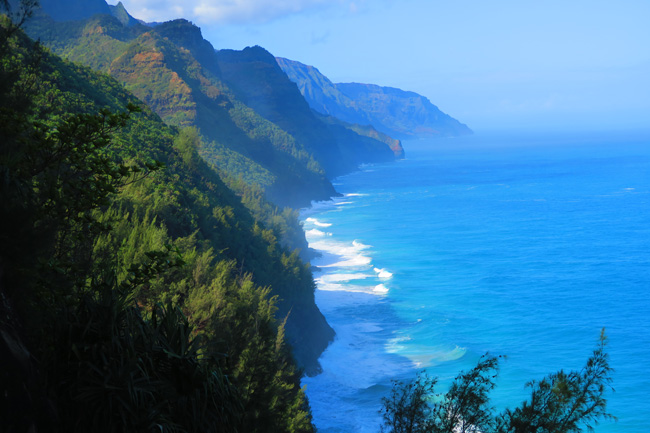 Na Pali Cliffs from Kalalau Trail - Hiking in Kauai - Hawaii
