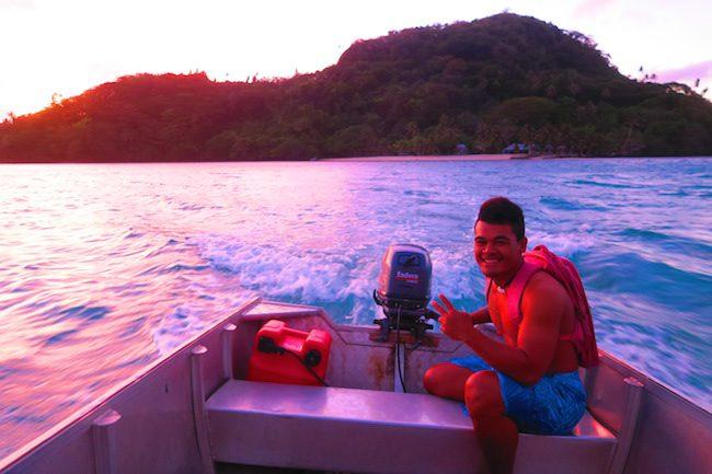 Namua Island Beach Fales Samoa - boat ride