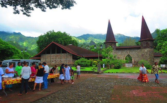 Notre Dame Cathedral nuku hiva marquesas - exterior