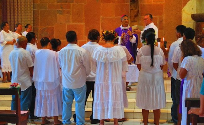 Notre Dame Cathedral nuku hiva marquesas -sunday service