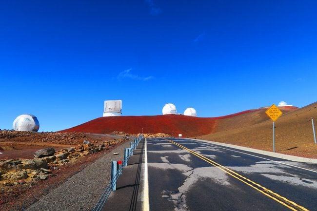 Observatories on Mauna Kea Summit Big Island Hawaii