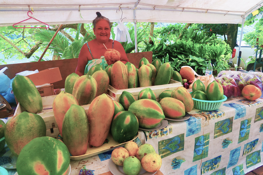 Papaya and coconut fruit stand - Moorea - French Polynesia