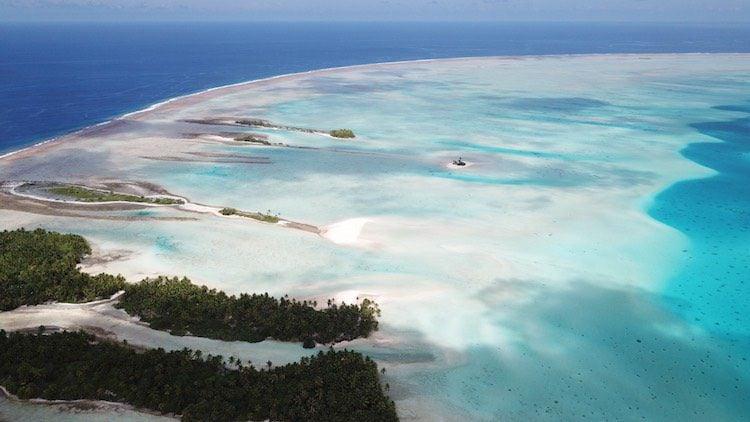 Pink sand beach Fakarava French Polynesia from the air
